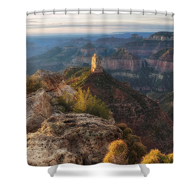 Grand Shower Curtain featuring the photograph North Rim Grand Canyon Arizona Point Imperial Bathed By Sunrise Golden Light. by Silvio Ligutti