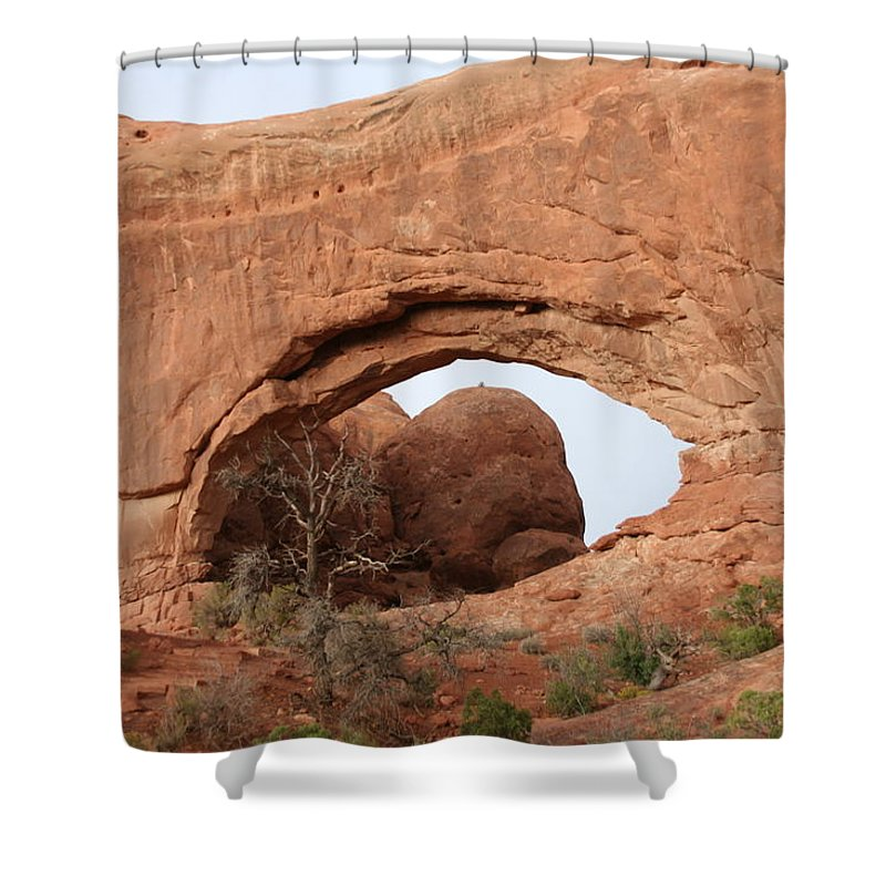 North Window Shower Curtain featuring the photograph North Window Arches Park by Christiane Schulze Art And Photography