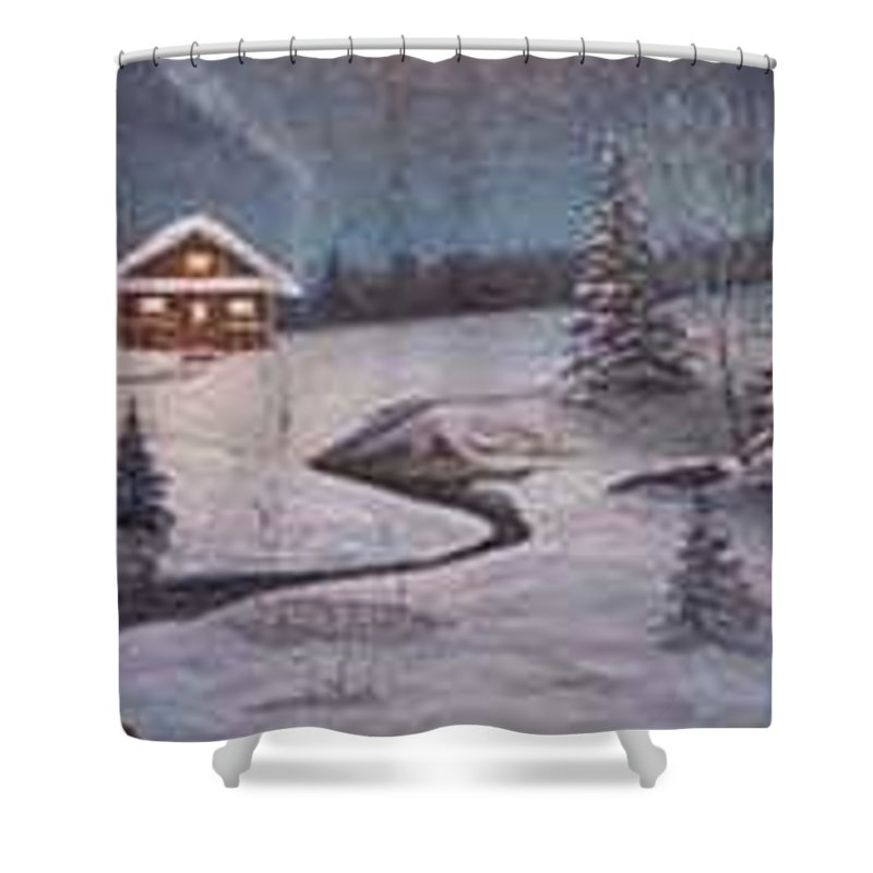 Rick Huotari Shower Curtain featuring the painting North Woods Cabin by Rick Huotari
