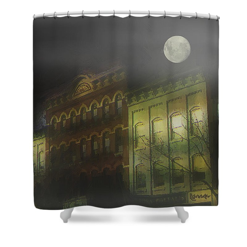 Cityscape Shower Curtain featuring the painting Northampton By Moonlight by RC deWinter