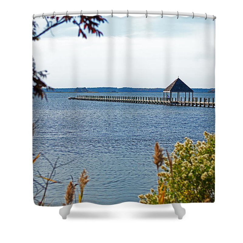 Northside Park Shower Curtain featuring the photograph Northside Park Fishing Pier by Bill Swartwout Fine Art Photography