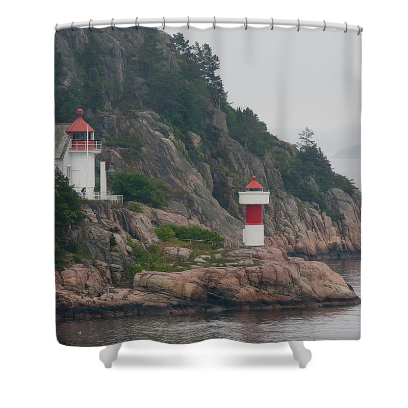 Kristiansand Shower Curtain featuring the photograph Norway Lighthouse 2 by CJ Middendorf