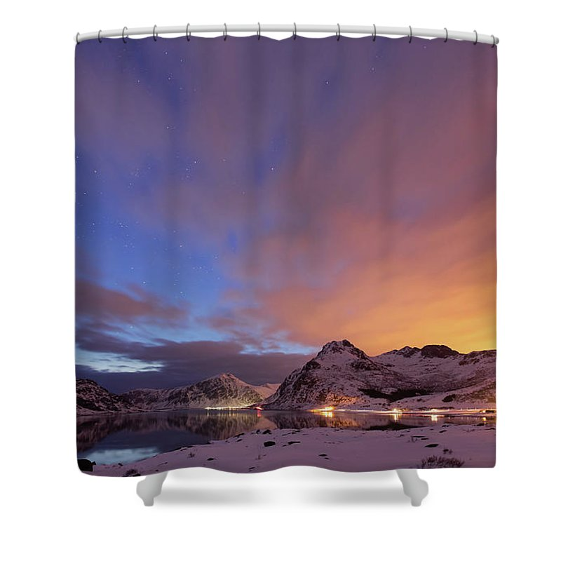 Scenics Shower Curtain featuring the photograph Norway Lofoten At Night With Burning Sky by Spreephoto.de