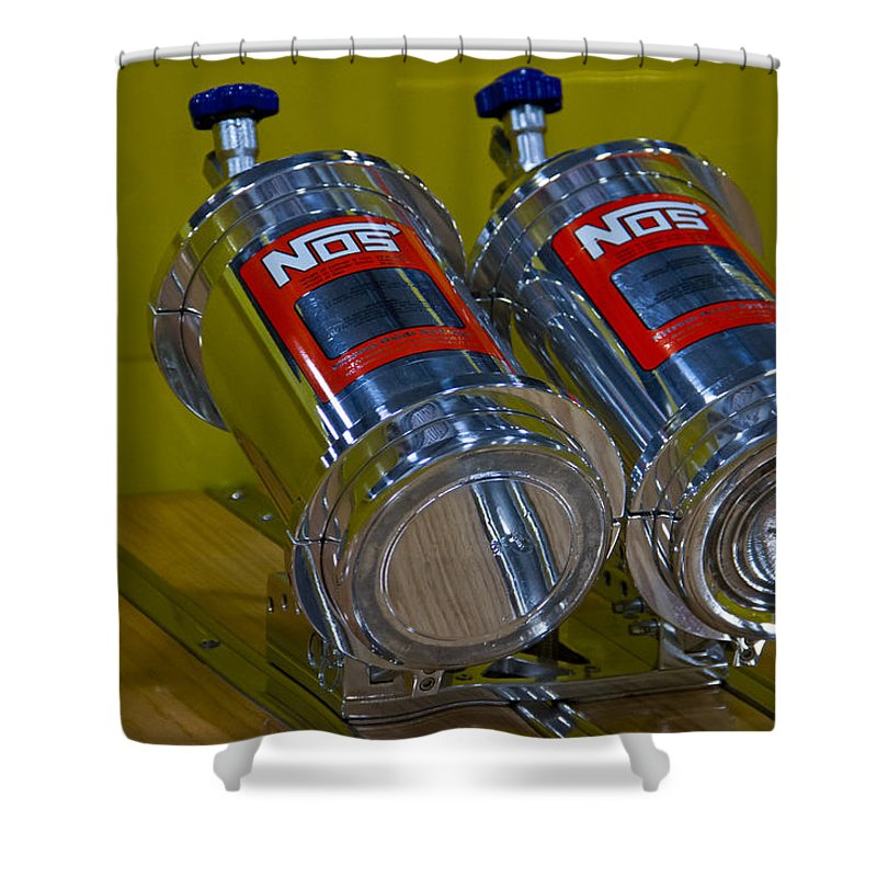 Racing Shower Curtain featuring the photograph Nos Bottles In A Racing Truck Trunk by Eti Reid