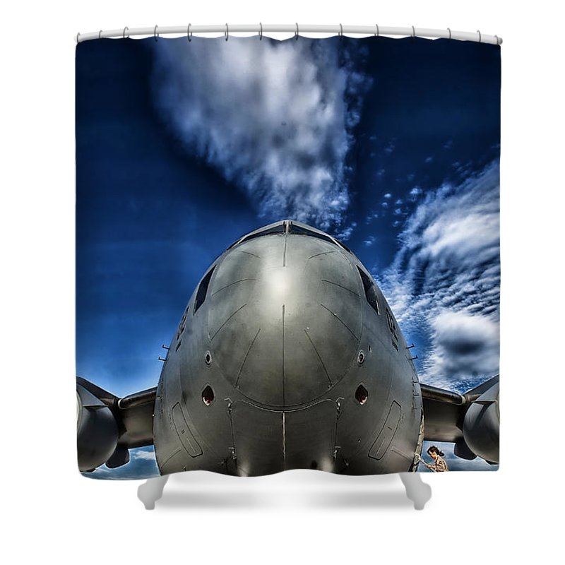 Globemaster Shower Curtain featuring the photograph Nose Of A C-17 by Mountain Dreams