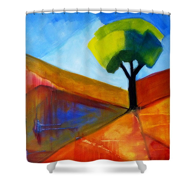 Oregon Shower Curtain featuring the painting Not Alone by Nancy Merkle