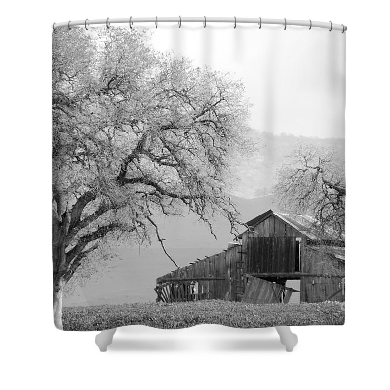 Barn Shower Curtain featuring the photograph Not Much Time Left Bw by Debby Pueschel