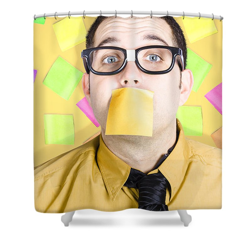 To-do Shower Curtain featuring the photograph Notice Board Businessman With Crazy To-do List by Jorgo Photography - Wall Art Gallery