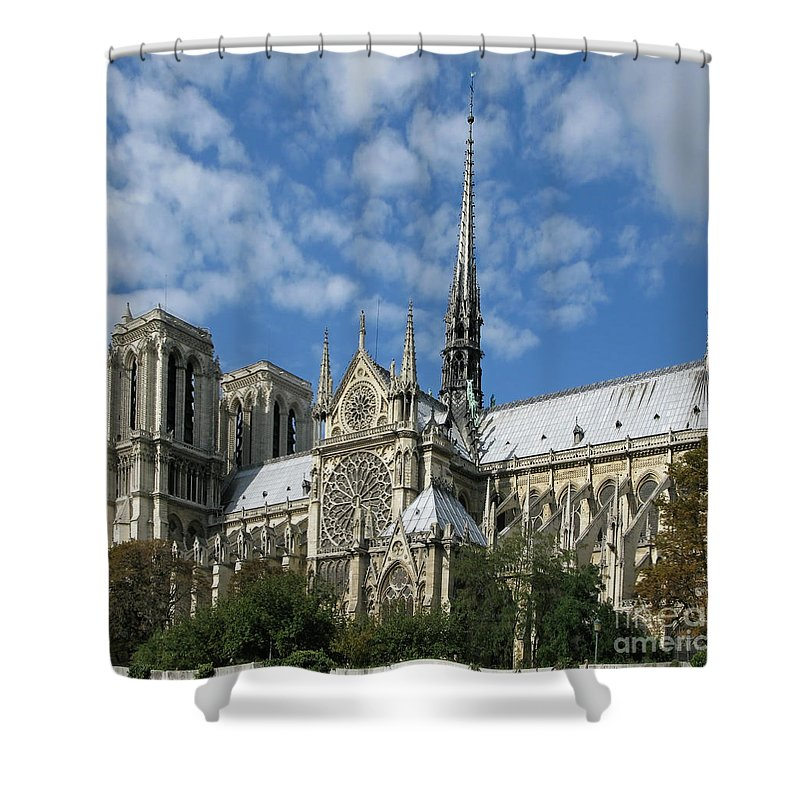 Notre Dame Shower Curtain featuring the photograph Notre Dame Cathedral by Ann Horn