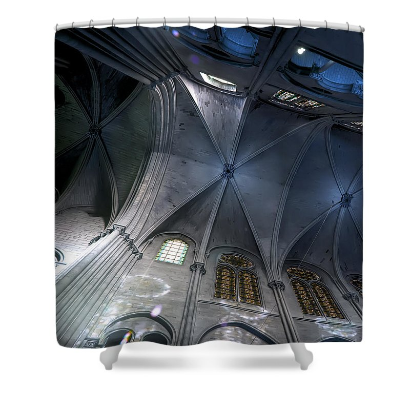 Evie Shower Curtain featuring the photograph Notre Dame Ceiling In Blues by Evie Carrier