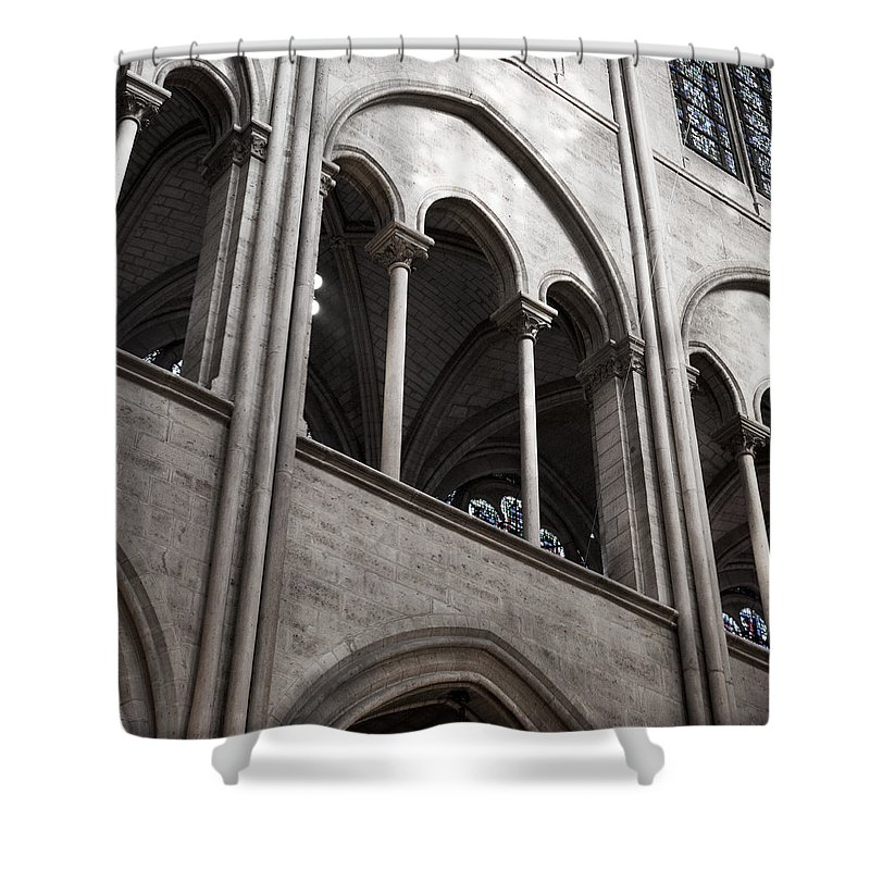 Evie Shower Curtain featuring the photograph Notre Dame Gothic Arches by Evie Carrier