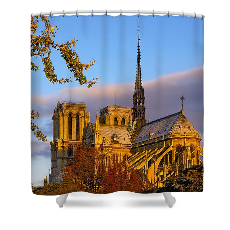 Paris Shower Curtain featuring the photograph Notre Dame Sunrise by Mick Burkey