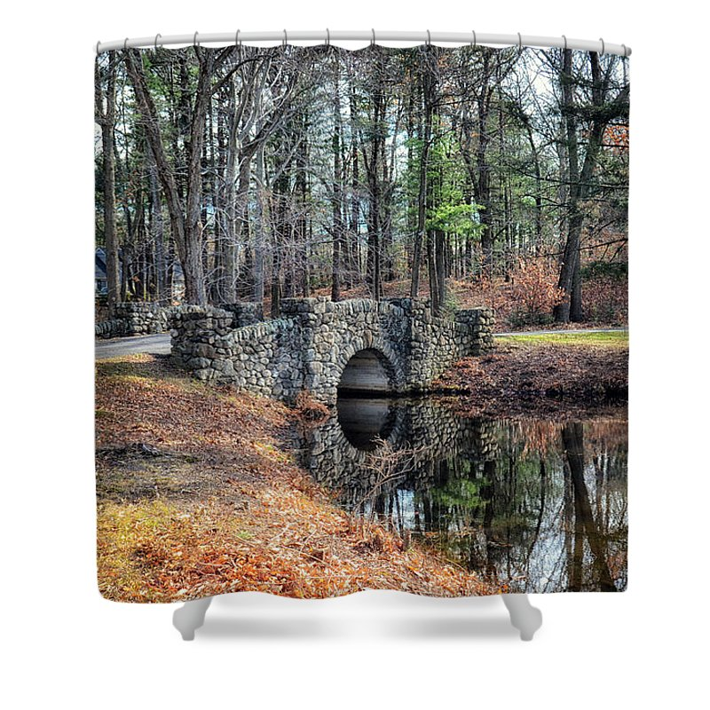 Bridge Shower Curtain featuring the photograph November Reflections by Tricia Marchlik
