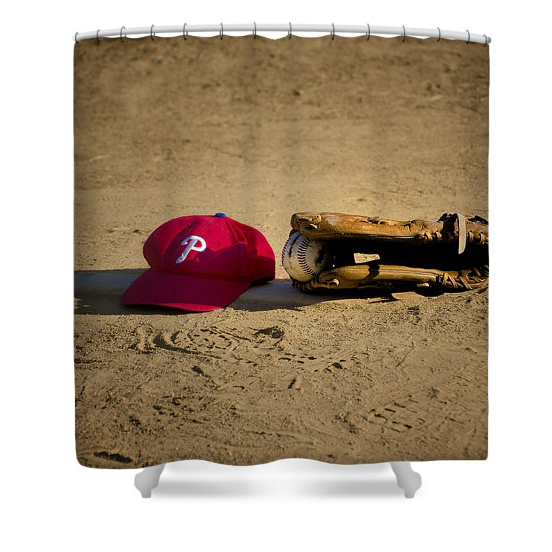 Now Shower Curtain featuring the photograph Now Pitching For The Phillies by Bill Cannon