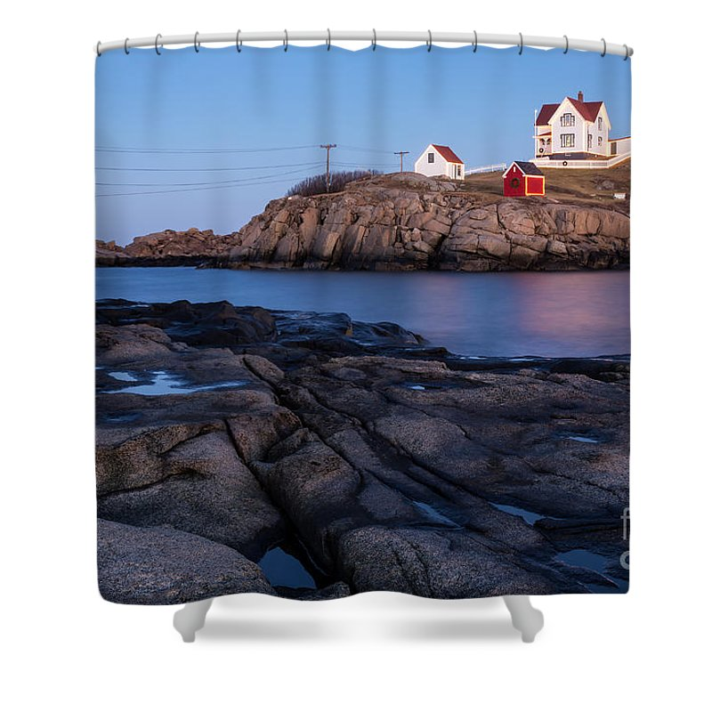 Nubble Light Shower Curtain featuring the photograph Nubble Light Along Maine's Rugged Coast York Beach Maine by Dawna Moore Photography