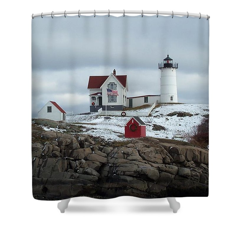 cape Neddick Maine Shower Curtain featuring the photograph Nubble Light In December by Barbara McDevitt