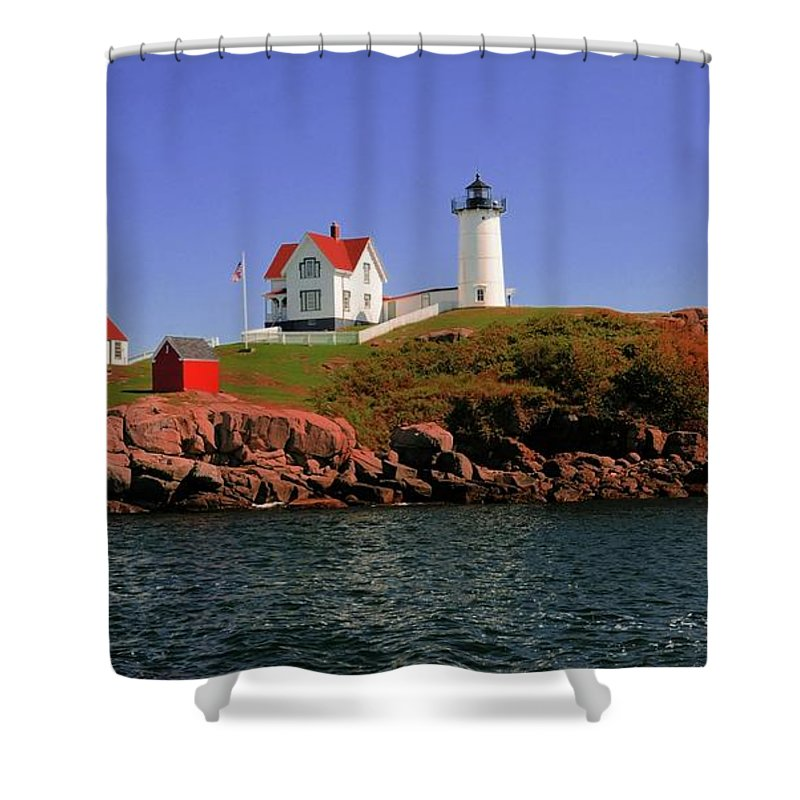 #nubble #lighthouse #maine Shower Curtain featuring the photograph Nubble Lighthouse-cape Neddick by Kathleen Struckle