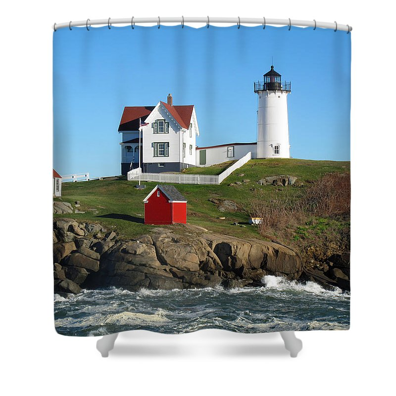 Seascape Shower Curtain Featuring The Photograph Nubble Lighthouse One By  Barbara McDevitt