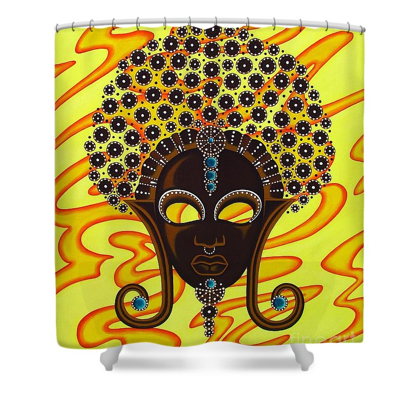 African Mask Painting Mask Painting Shower Curtain featuring the painting Nubian Modern Afro Mask by Joseph Sonday