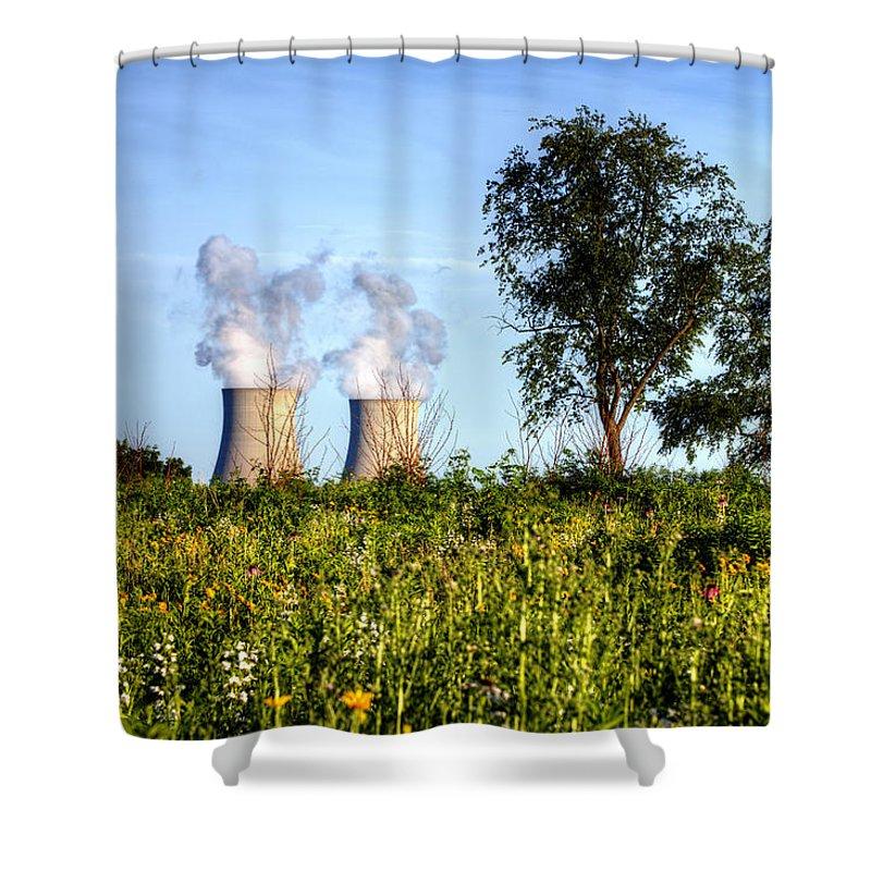 Byron Nuclear Plant Hdr Shower Curtain featuring the photograph Nuclear Hdr4 by Josh Bryant