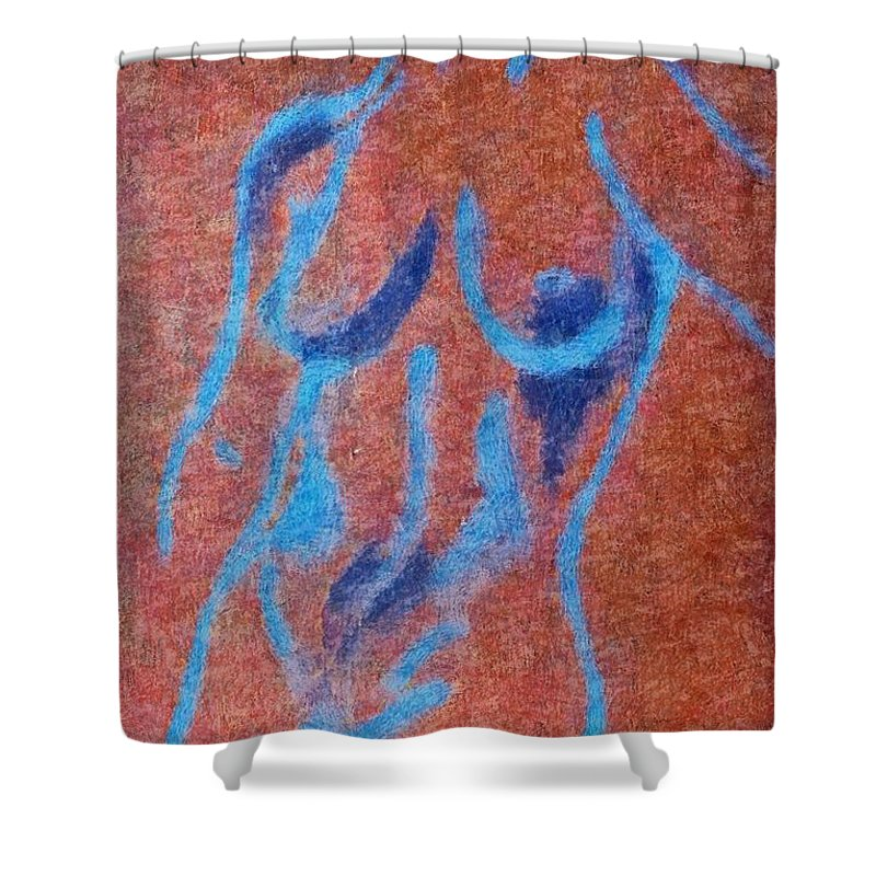 Nude Shower Curtain featuring the drawing Nude V by Dragica Micki Fortuna