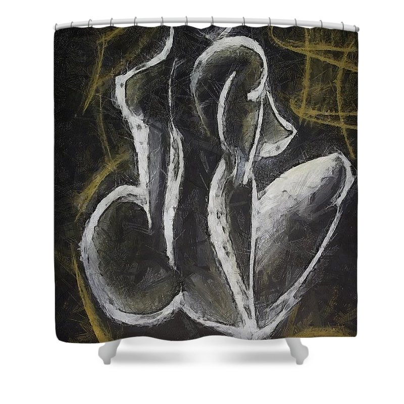 Female Nude Shower Curtain featuring the drawing Nude Vii by Dragica Micki Fortuna