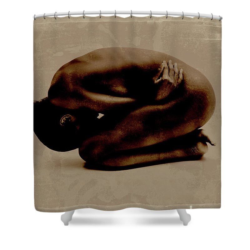 People Shower Curtain featuring the photograph Nude Woman Kneeling Curled Up by Win-initiative