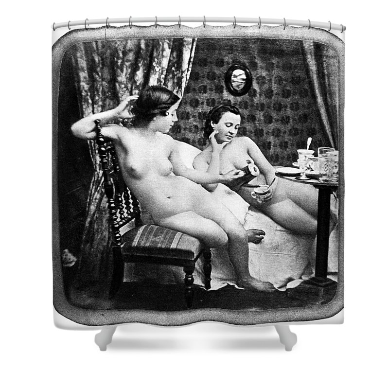 1850 Shower Curtain featuring the photograph Nudes Having Tea, C1850 by Granger