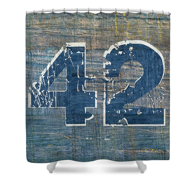 Jackie Robinson Shower Curtain featuring the digital art Number 42 by Michelle Calkins