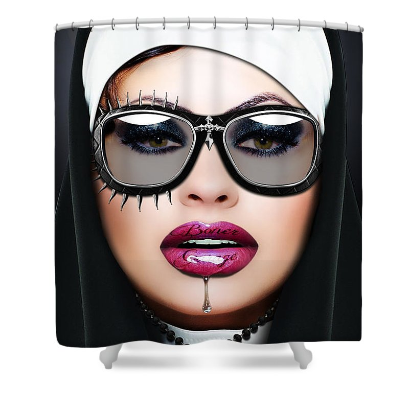Nun Shower Curtain featuring the digital art Nun by Jan Raphael