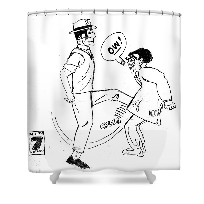 Dick Tracy Shower Curtain featuring the drawing Nuts by Del Gaizo