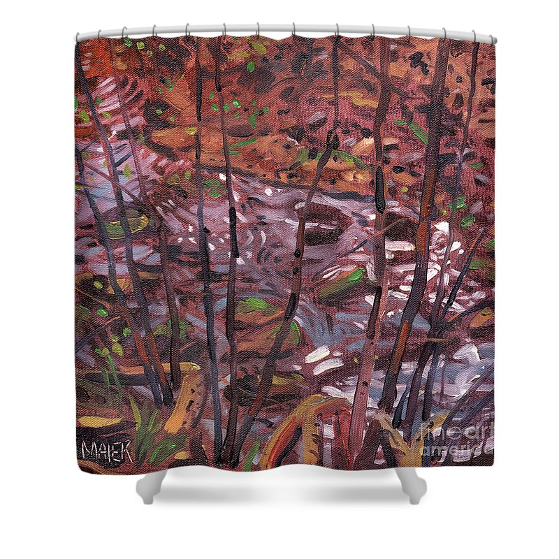 Creek Shower Curtain featuring the painting Suzie's Creek by Donald Maier