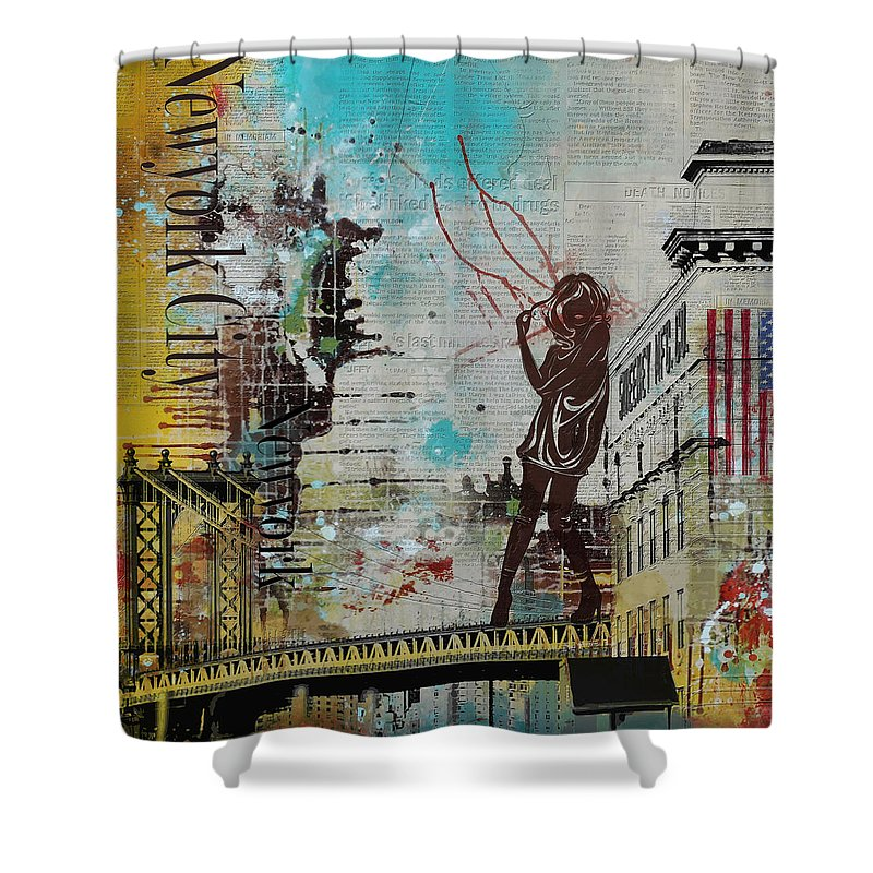 New York City Shower Curtain featuring the painting Ny City Collage 4 by Corporate Art Task Force