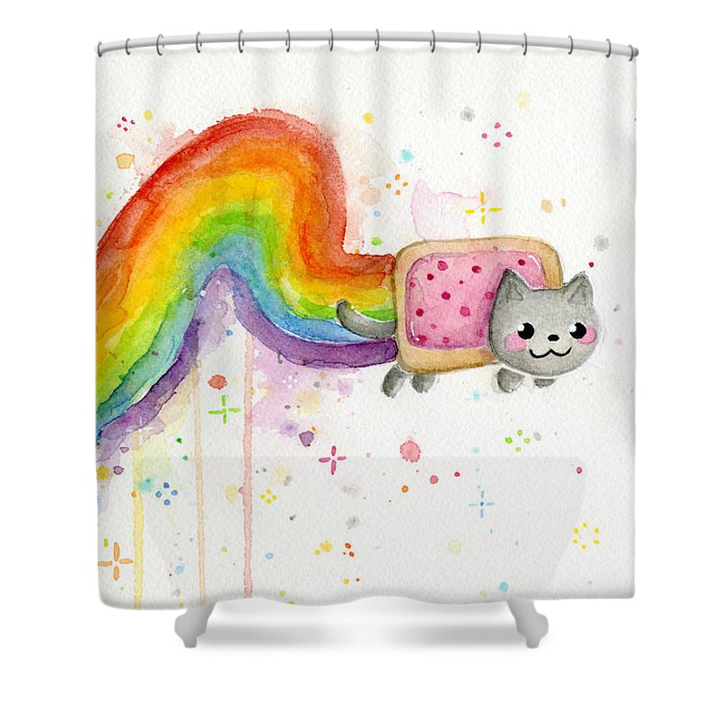 Nyan Shower Curtain Featuring The Painting Cat Watercolor By Olga Shvartsur