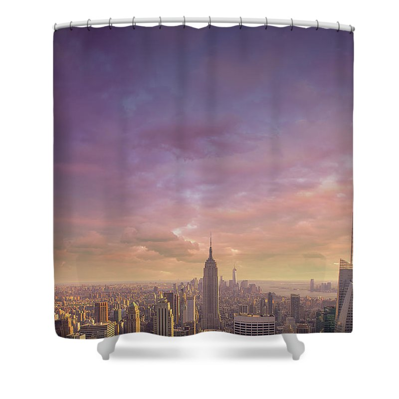 Lower Manhattan Shower Curtain featuring the photograph Nyc At Sunset by Bluberries