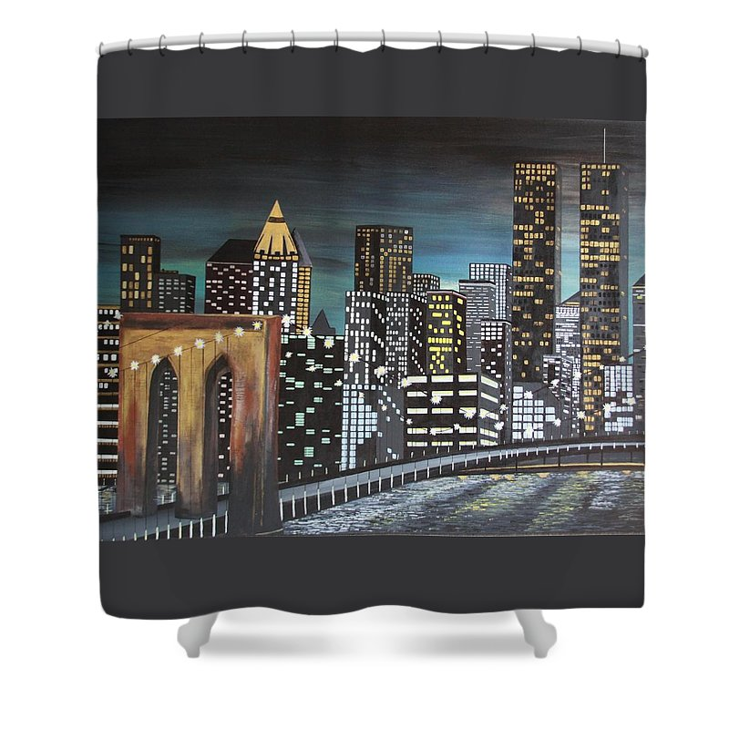 Nyc Shower Curtain featuring the painting NYC by Dawn Hawkins