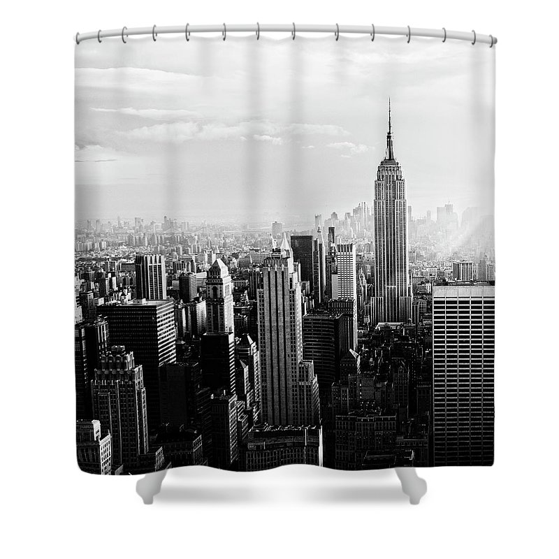 Lower Manhattan Shower Curtain featuring the photograph Nyc Skyline.black And White by Lisa-blue