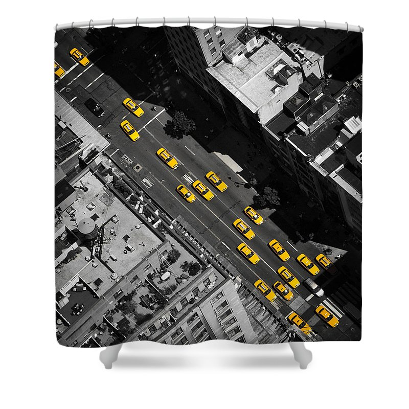 Taxi Shower Curtain featuring the photograph Nyc Taxi by Thomas Richter