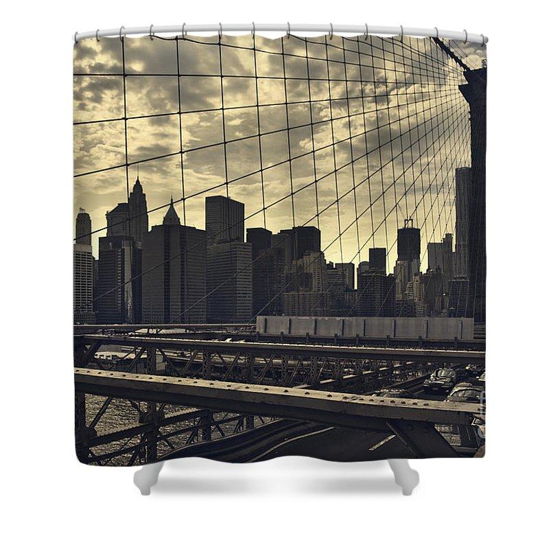 Brooklyn Bridge Shower Curtain featuring the photograph Nyc Through The Web by Istvan Kadar