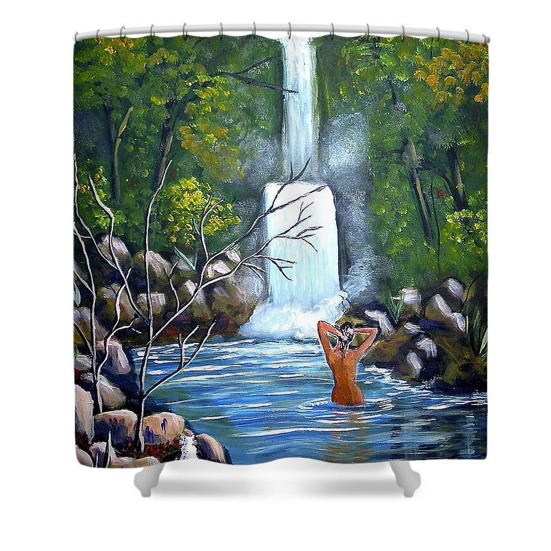 Waterfall Shower Curtain featuring the painting Nymph In Pool by Phyllis Kaltenbach