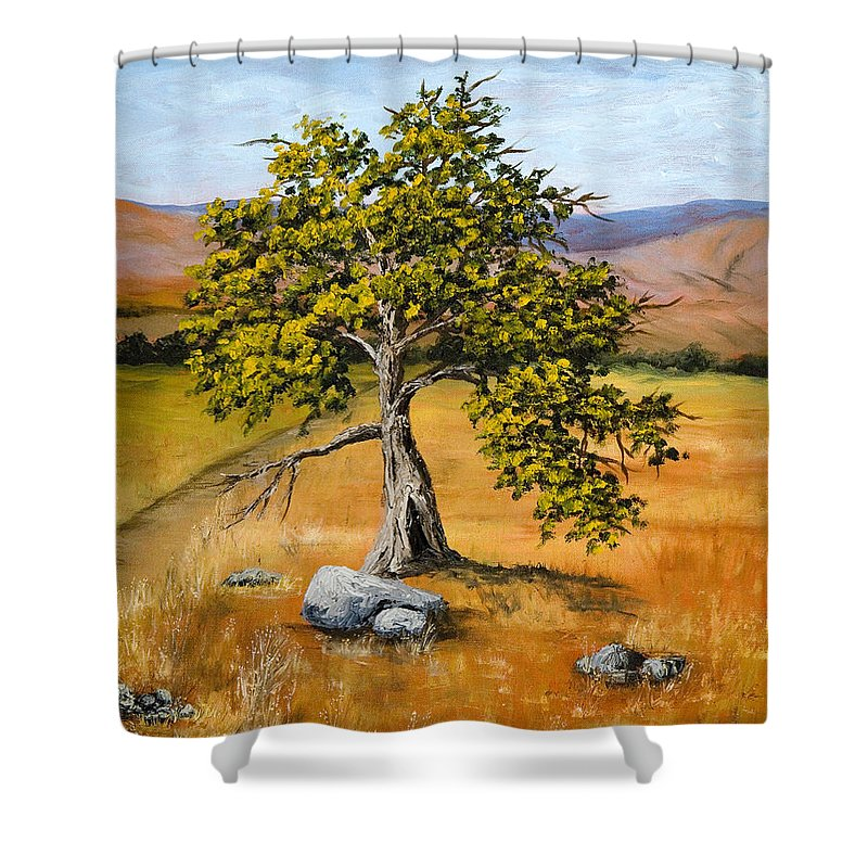 Landscape Shower Curtain featuring the painting Oak Tree by Darice Machel McGuire