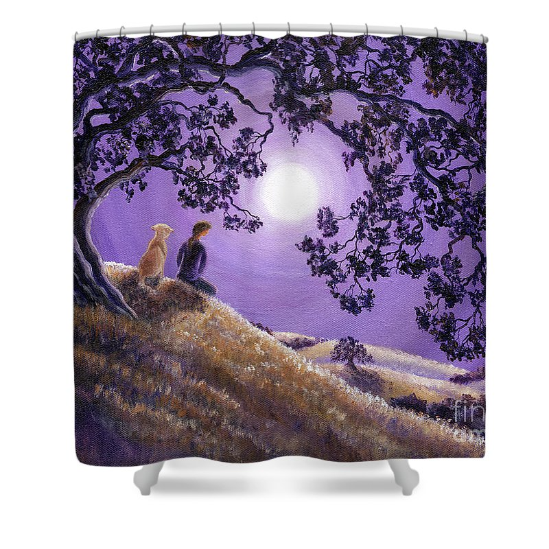 Zen Shower Curtain featuring the painting Oak Tree Meditation by Laura Iverson