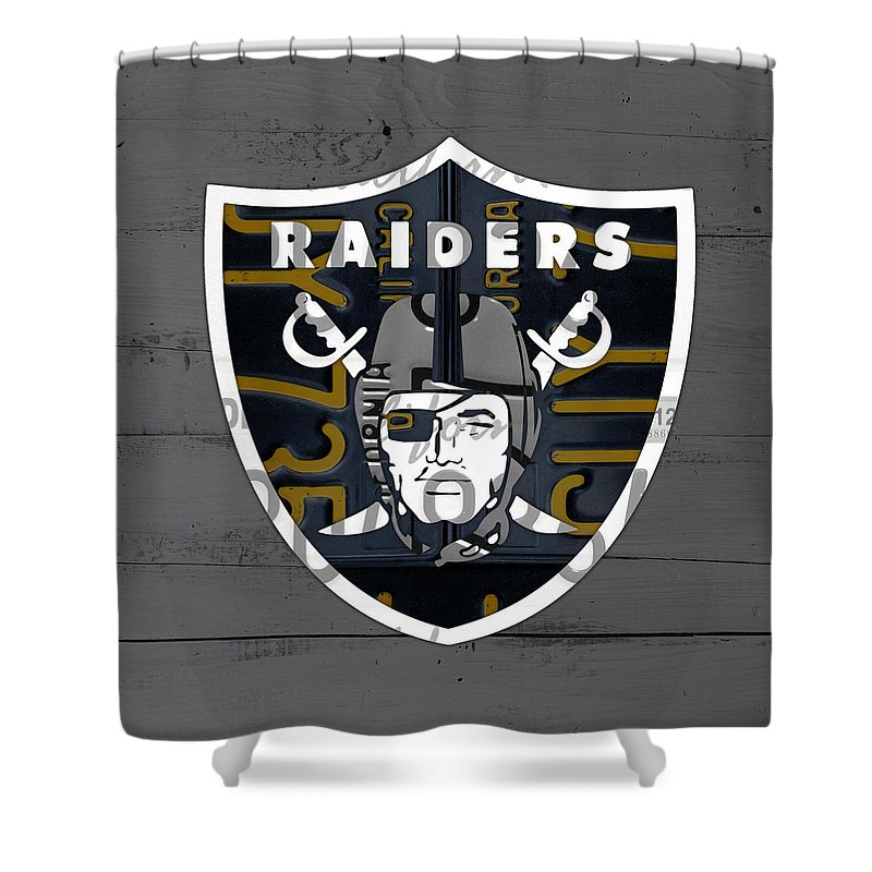 Oakland Raiders Football Team Retro Logo California License Plate Art Shower Curtain For Sale By Design Turnpike