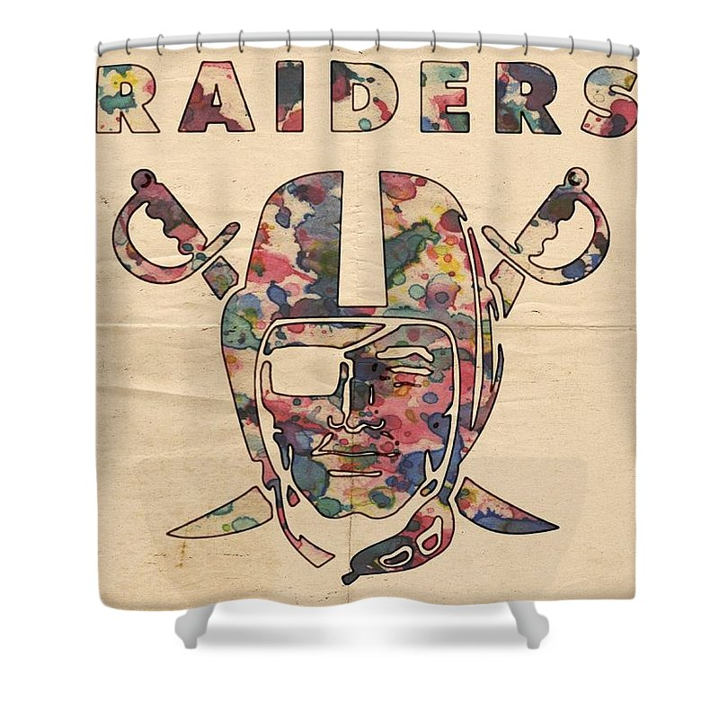 Oakland Raiders Shower Curtain Featuring The Painting Logo Art By Florian Rodarte