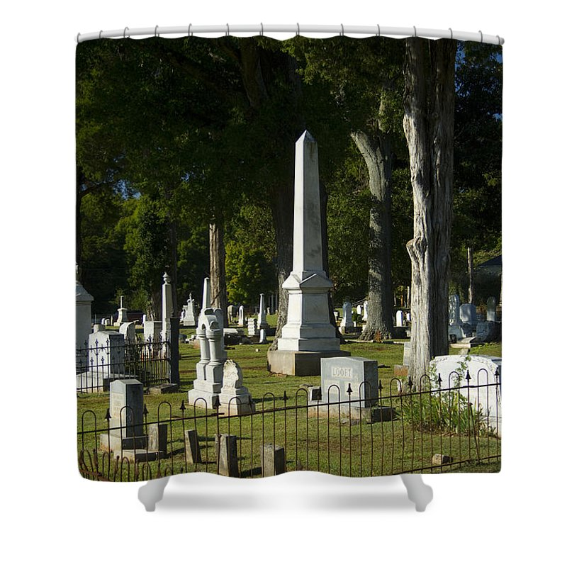 Graveyard Shower Curtain featuring the photograph Obelisk And Headstones by Kathy Clark