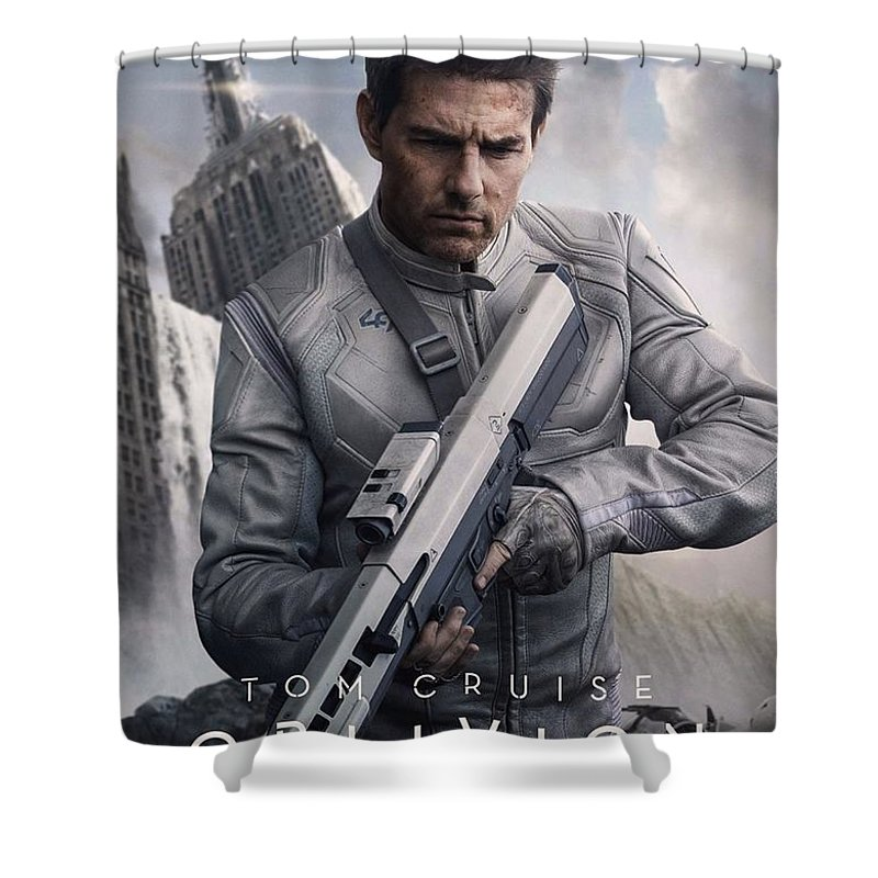 Oblivion Shower Curtain featuring the photograph Oblivion Tom Cruise by Movie Poster Prints