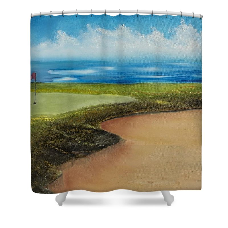 Water Shower Curtain featuring the painting Obstacles To A Beautiful Game by Marcel Quesnel