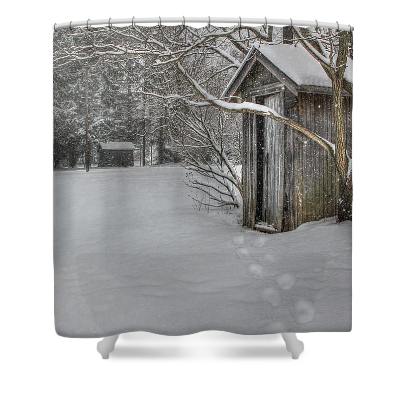 Outhouse Shower Curtain featuring the photograph Occupied by Lori Deiter
