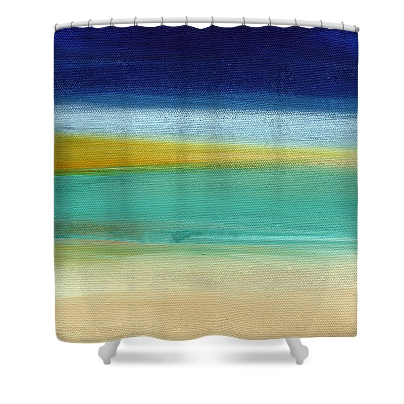 Abstract Shower Curtain featuring the painting Ocean Blue 3- Art by Linda Woods by Linda Woods