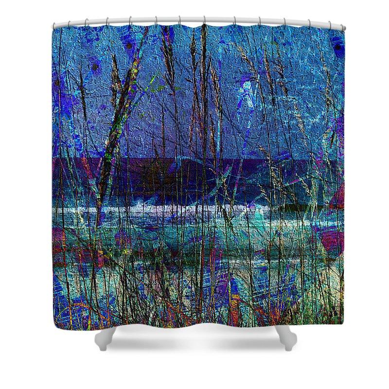 Ocean Blue Shower Curtain featuring the mixed media Ocean Blue by Kiki Art